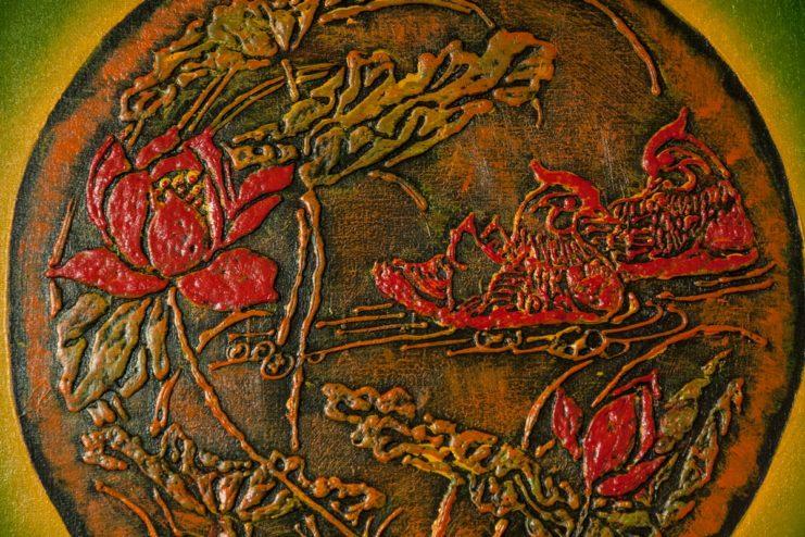 Картина «Уточки мандаринки в цветах лотоса»