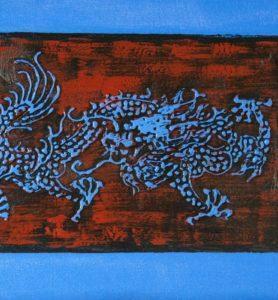 Картина «Драконы с жемчужиной»