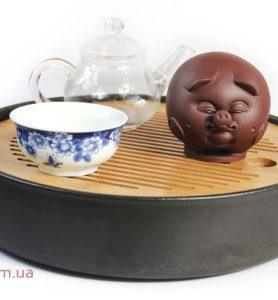 Чашень «Хрюся», чайная фигурка свиньи из глины  - фото 2