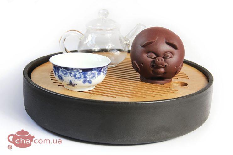 Чашень «Хрюся», чайная фигурка свиньи из глины  - фото 3