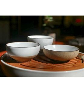 Чашки глазированный фарфор с Лотосом 45мл  - фото