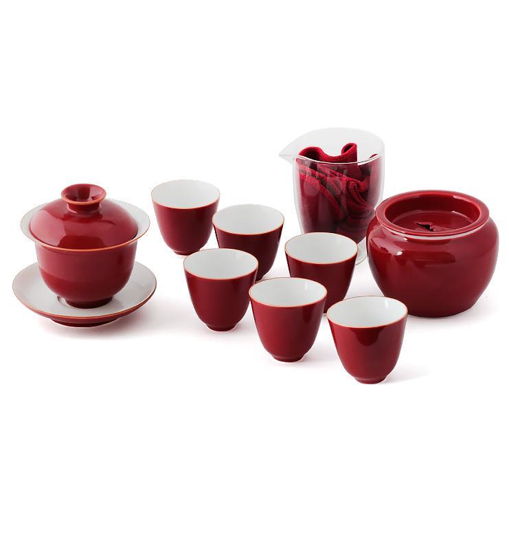 red set 2 - Сервиз фарфоровый с красной глазурью «Сердце чая»