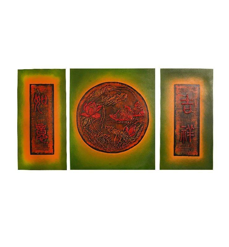 zelenaja kartina 1 1 - Картина «Уточки мандаринки в цветах лотоса»