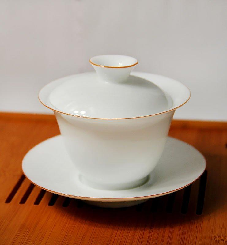 Гайвань с белого фарфора с ободком 120мл  - фото 2