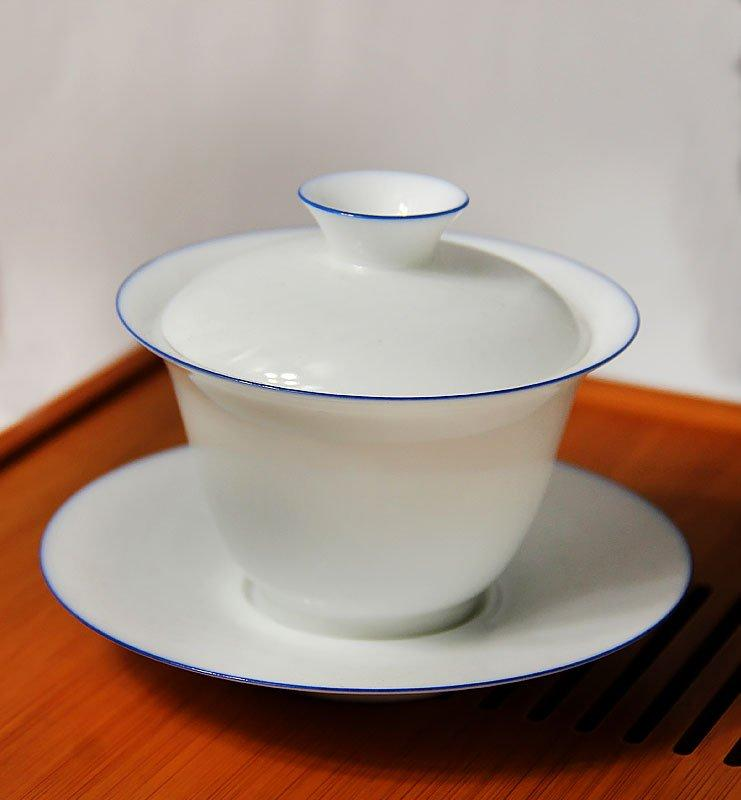 Гайвань с белого фарфора с ободком 120мл  - фото 3