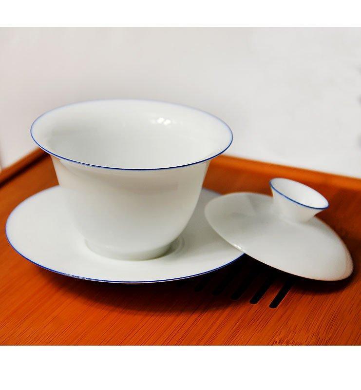 Гайвань с белого фарфора с ободком 120мл  - фото 4