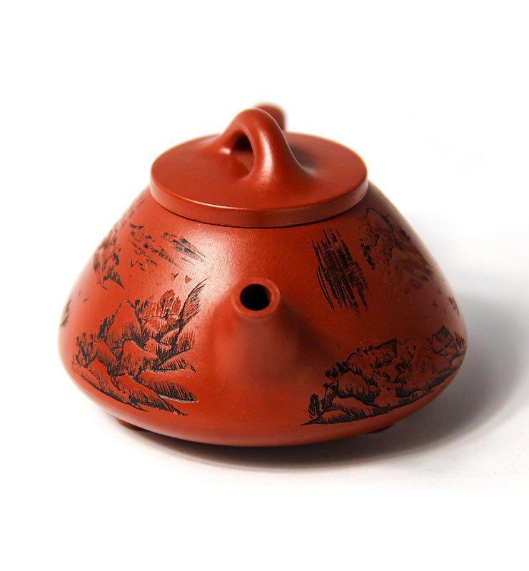 Чайник из исинской глины формы Ши Пяо, красный «Каменный ковш»