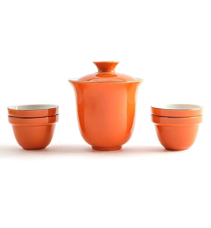 Сервиз чайный дорожный из фарфора цвета хурмы  - фото 5