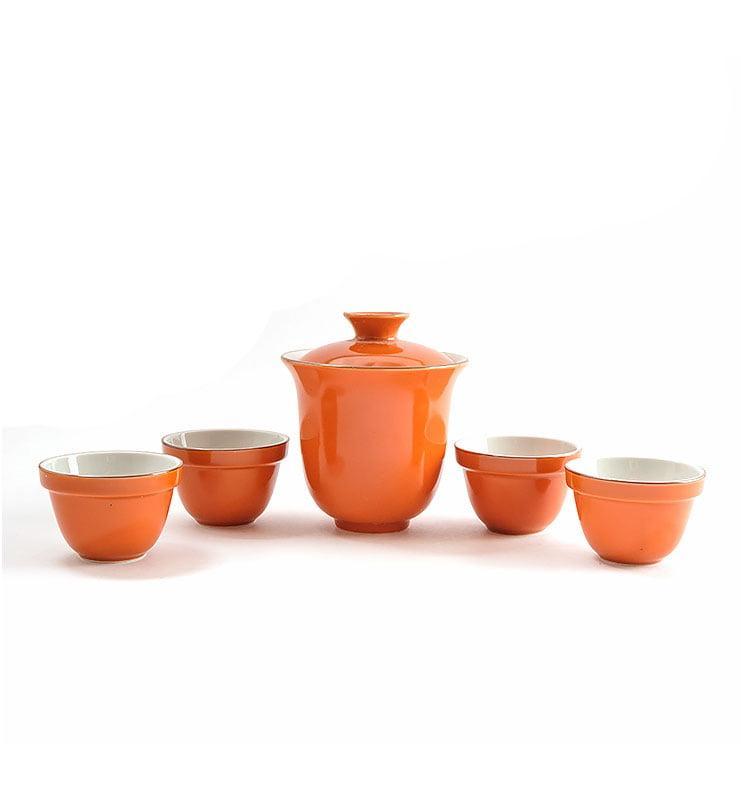 Сервиз чайный дорожный из фарфора цвета хурмы  - фото