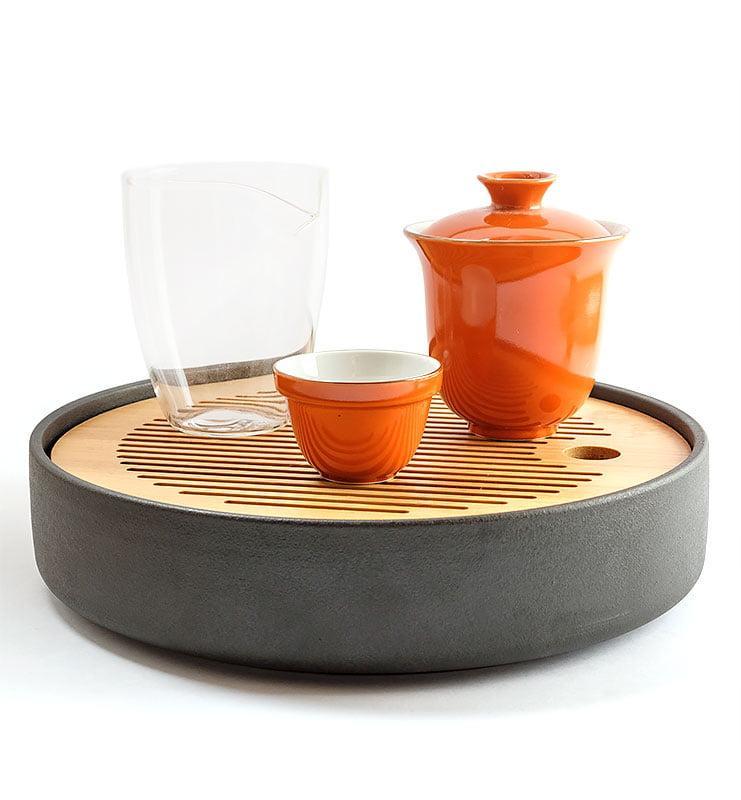 Сервиз чайный дорожный из фарфора цвета хурмы  - фото 2
