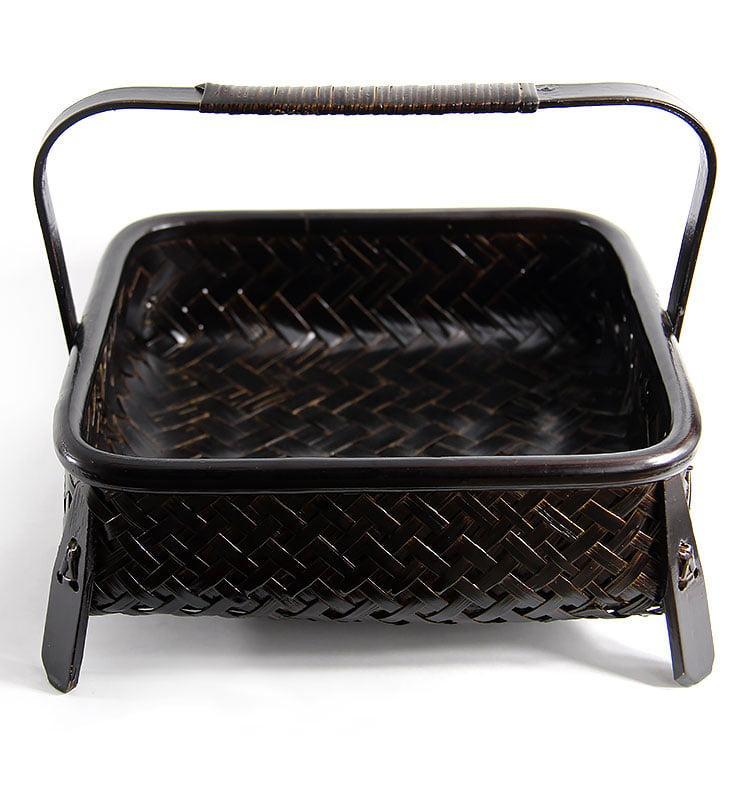 Бамбуковая плетеная корзина для хранения посуды и чая  - фото 2