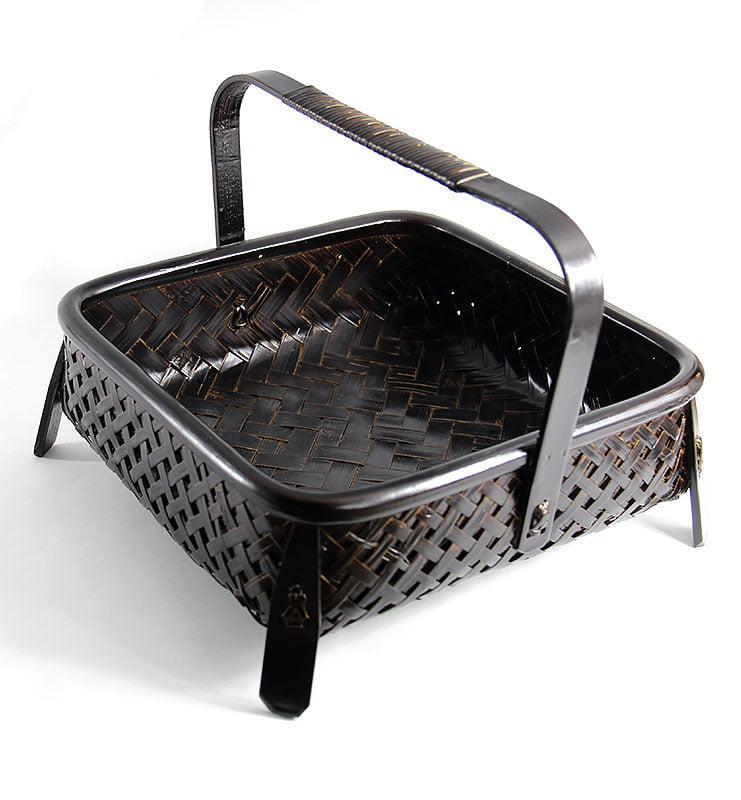 Бамбуковая плетеная корзина для хранения посуды и чая  - фото 3