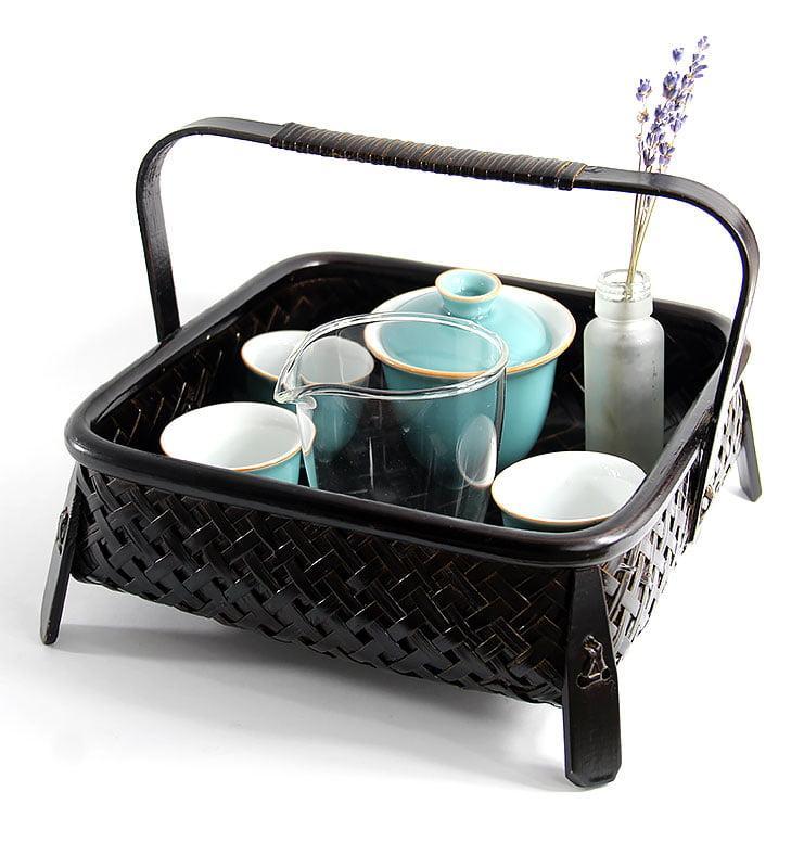 Бамбуковая плетеная корзина для хранения посуды и чая  - фото
