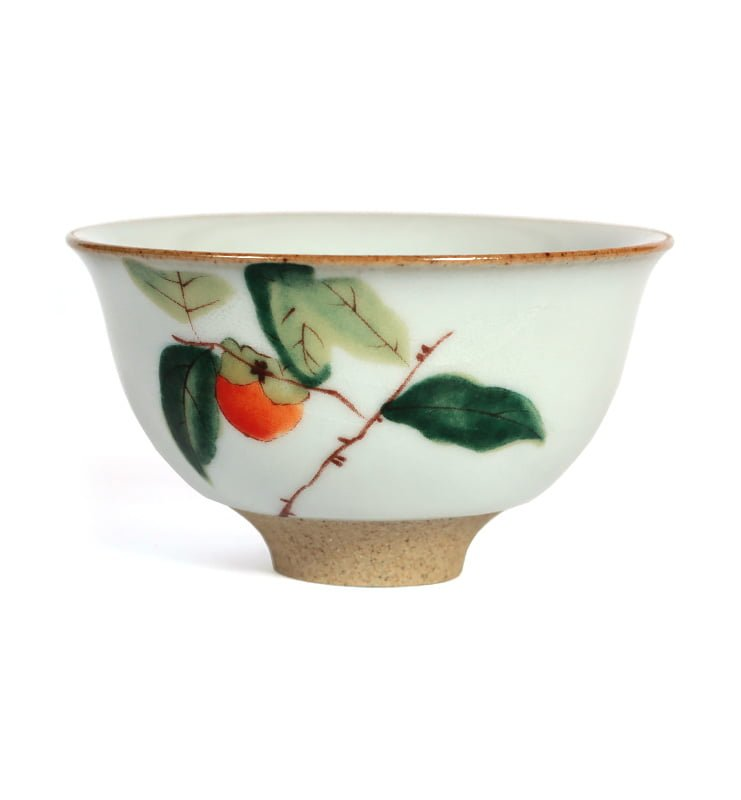 Чашки ручной работы селадоновые с рисунком 75мл