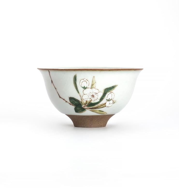 Чашки ручной работы селадоновые с рисунком 75мл  - фото 6
