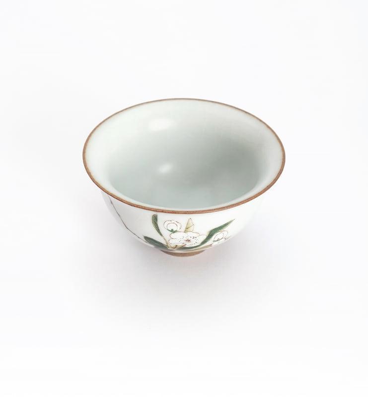 Чашки ручной работы селадоновые с рисунком 75мл  - фото 13