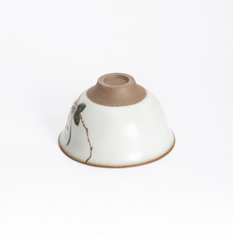 Чашки ручной работы селадоновые с рисунком 75мл  - фото 12