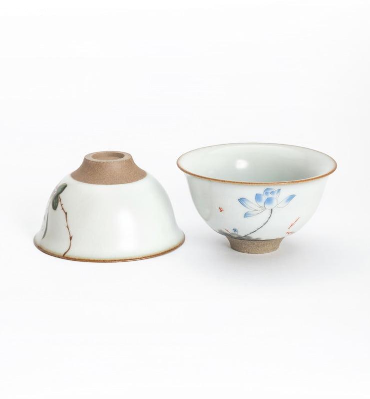 Чашки ручной работы селадоновые с рисунком 75мл  - фото 8