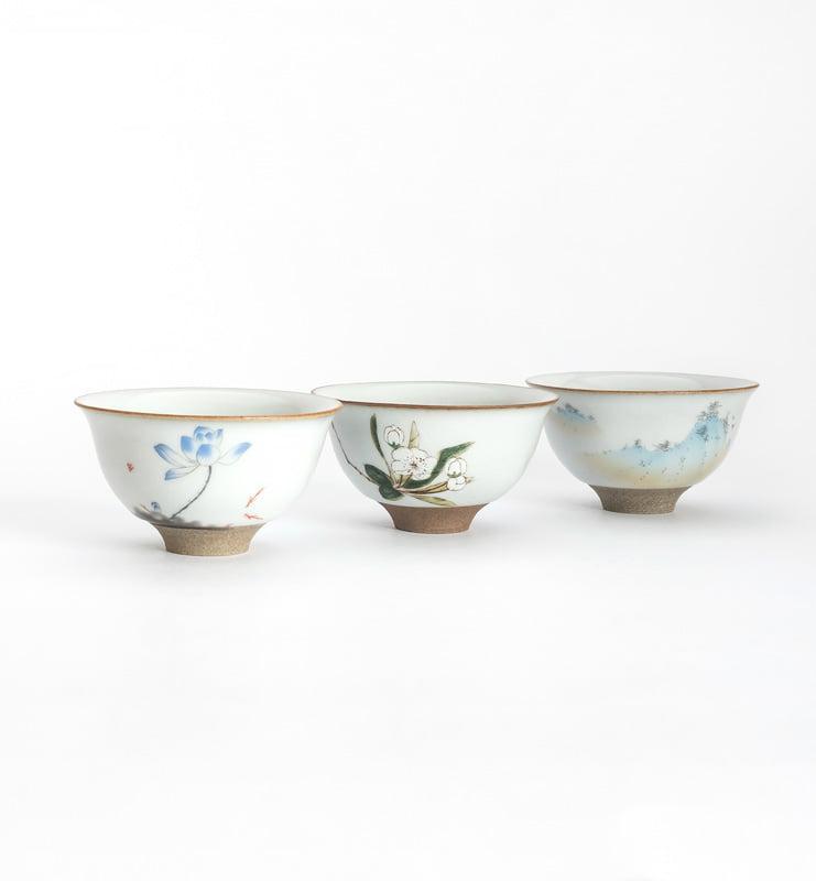 Чашки ручной работы селадоновые с рисунком 75мл  - фото 2
