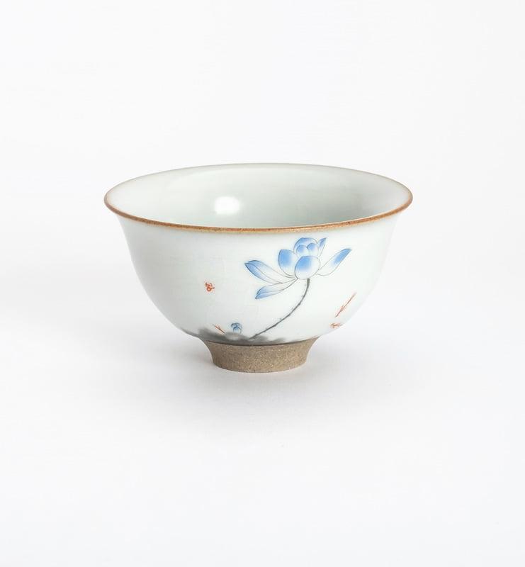 Чашки ручной работы селадоновые с рисунком 75мл  - фото 11