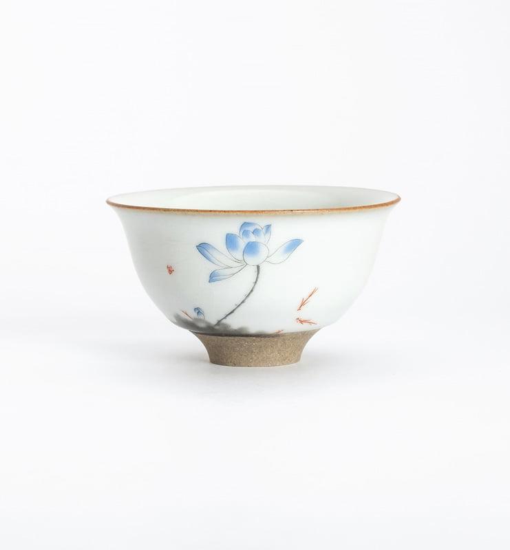Чашки ручной работы селадоновые с рисунком 75мл  - фото 7