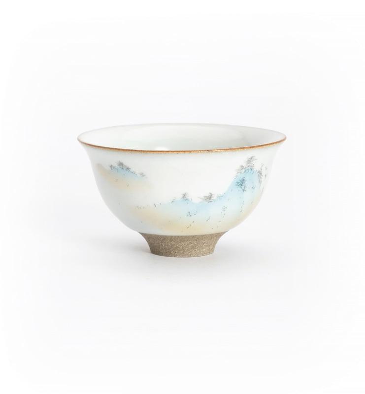 Чашки ручной работы селадоновые с рисунком 75мл  - фото 14