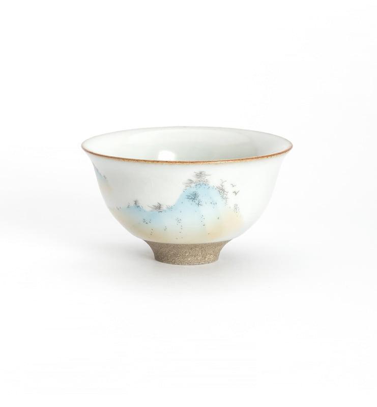 Чашки ручной работы селадоновые с рисунком 75мл  - фото 5