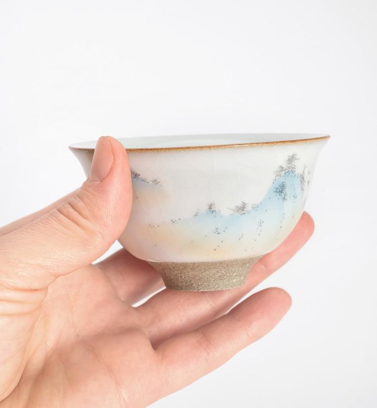 Чашки ручной работы селадоновые с рисунком 75мл  - фото 3