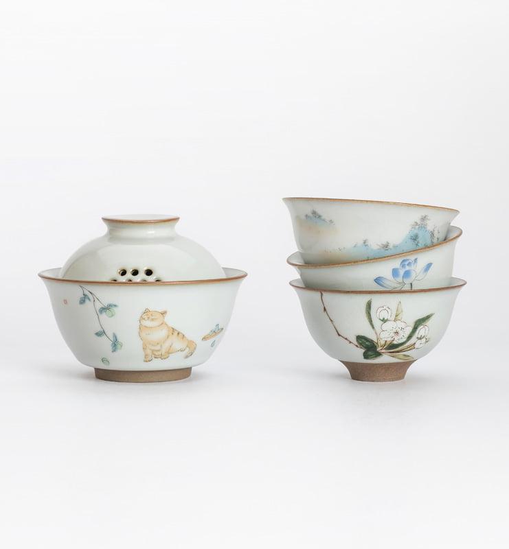 Чашки ручной работы селадоновые с рисунком 75мл  - фото 9