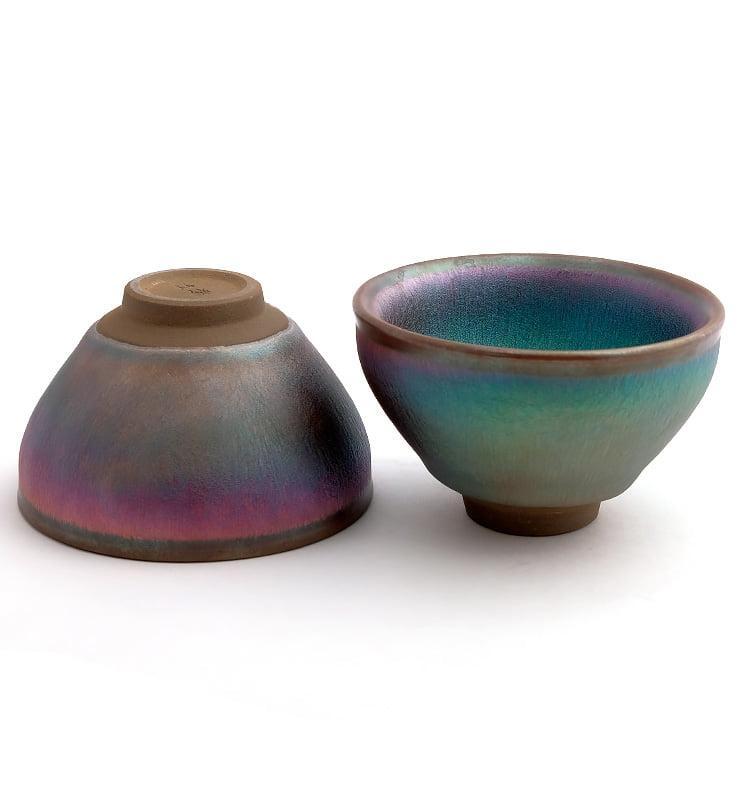 cup rbw 15 - Чашка керамические Тэммоку «Шелковая радуга» 75мл
