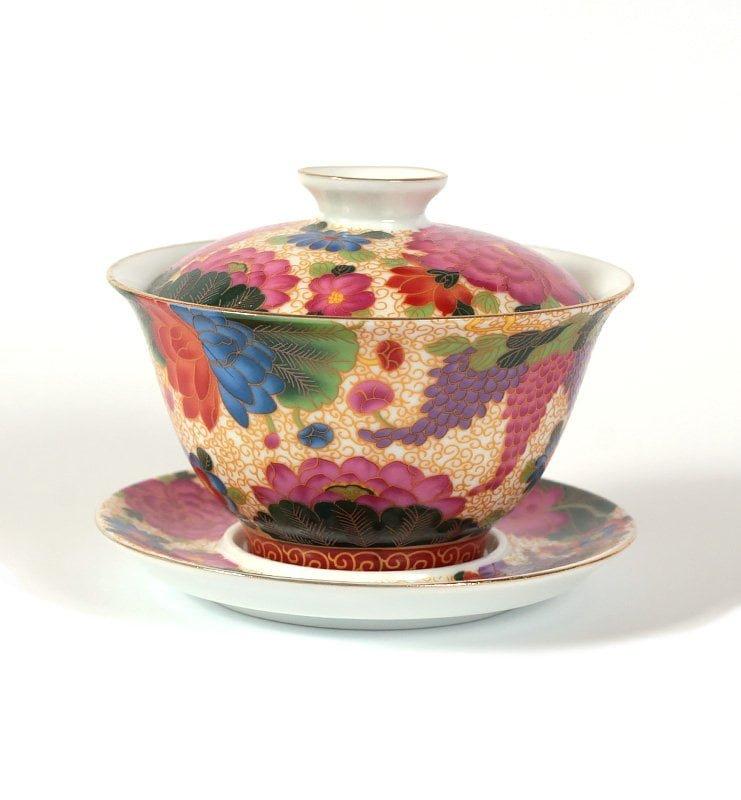 cvetok 2 - Гайвань «Цветущий сад» для традиционного заваривания чая, 180 мл