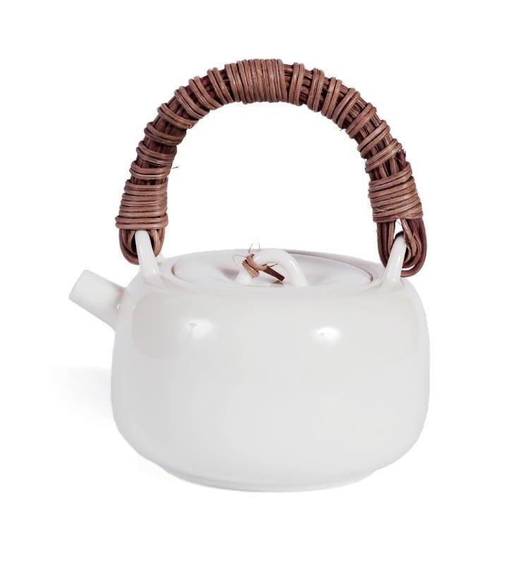 japcup 15 - Белый чайник в японском стиле с ротанговой ручкой 225 мл