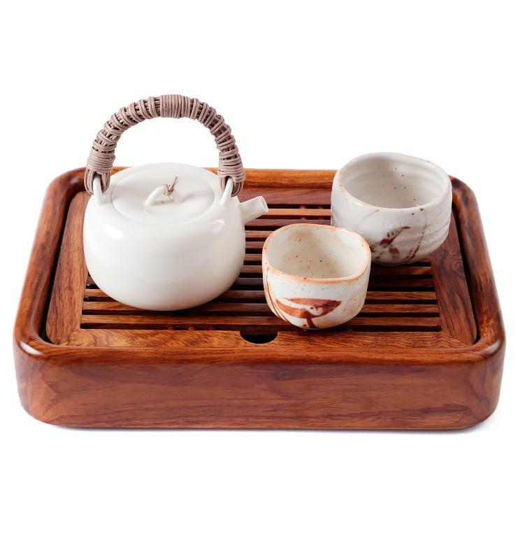 japcup 9 - Белый чайник в японском стиле с ротанговой ручкой 225 мл